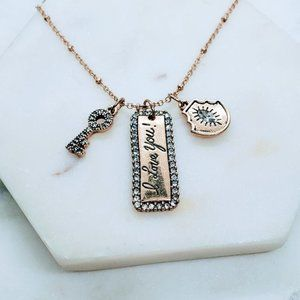 5 for $25 Gold Color Key Locket Charm Necklace